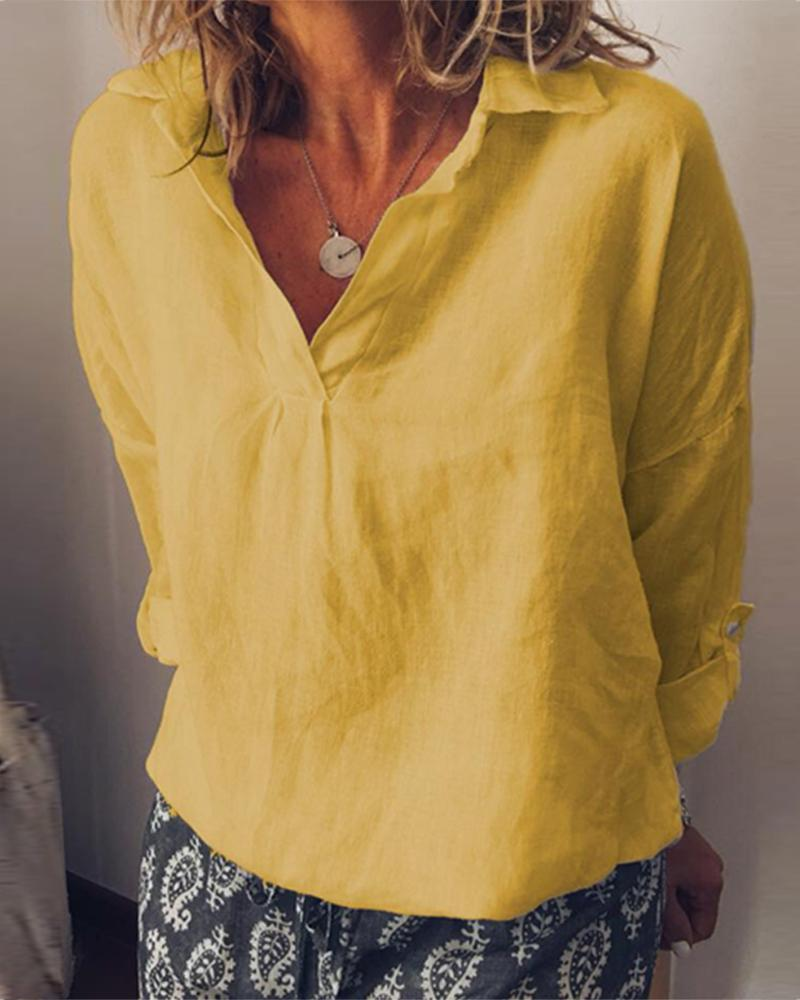 Solid color V-neck large size cotton and linen women фото