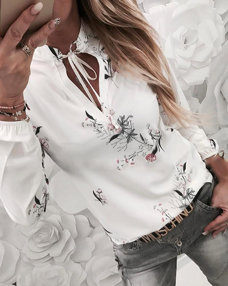 Floral Print Tied Detail Casual Blouse фото