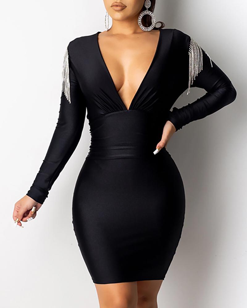 V-Neck Long Sleeve Tassel Design Bodycon Dress фото