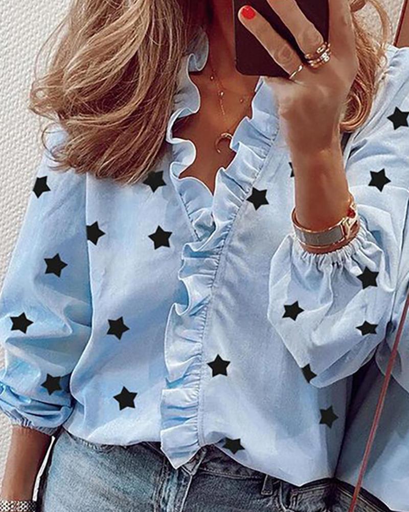 V-neck Stars Print Ruffles Shirt фото