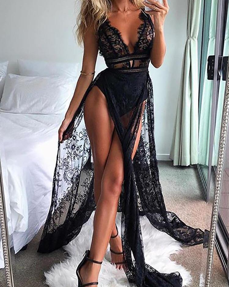 See Through Eyelash Lace High Slit Maxi Dress, Black