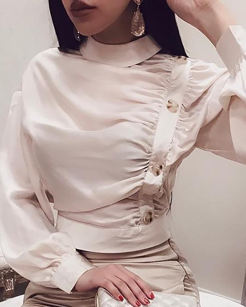 Long Sleeve Button Ruched Casual Blouse