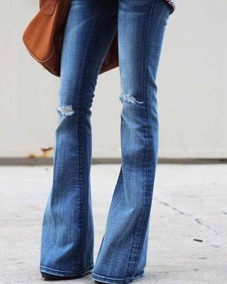 joyshoetique / Cut Out Knee Raw Hem Flared Jeans