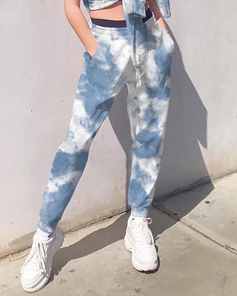 Tie Dye Print Pocket Design Casual Pants фото