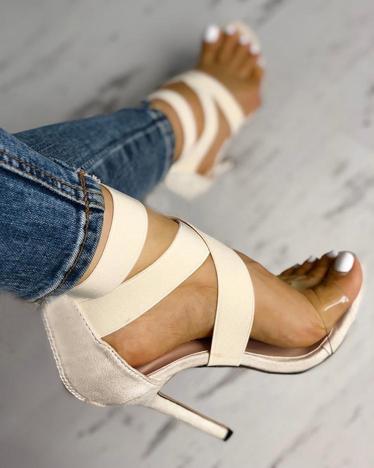 ivrose / Transparent Crisscross Bandage Thin Heeled Sandals