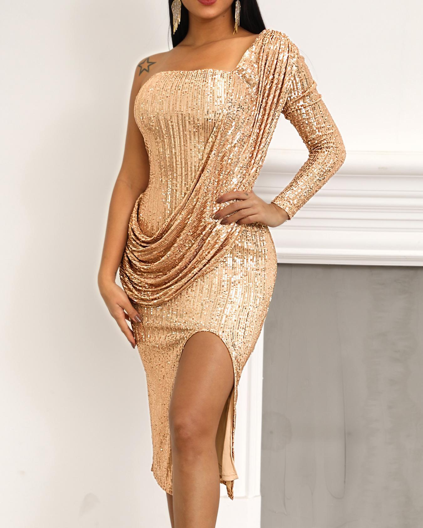 One Shoulder Drape Design Slit Sequin Party Dress фото