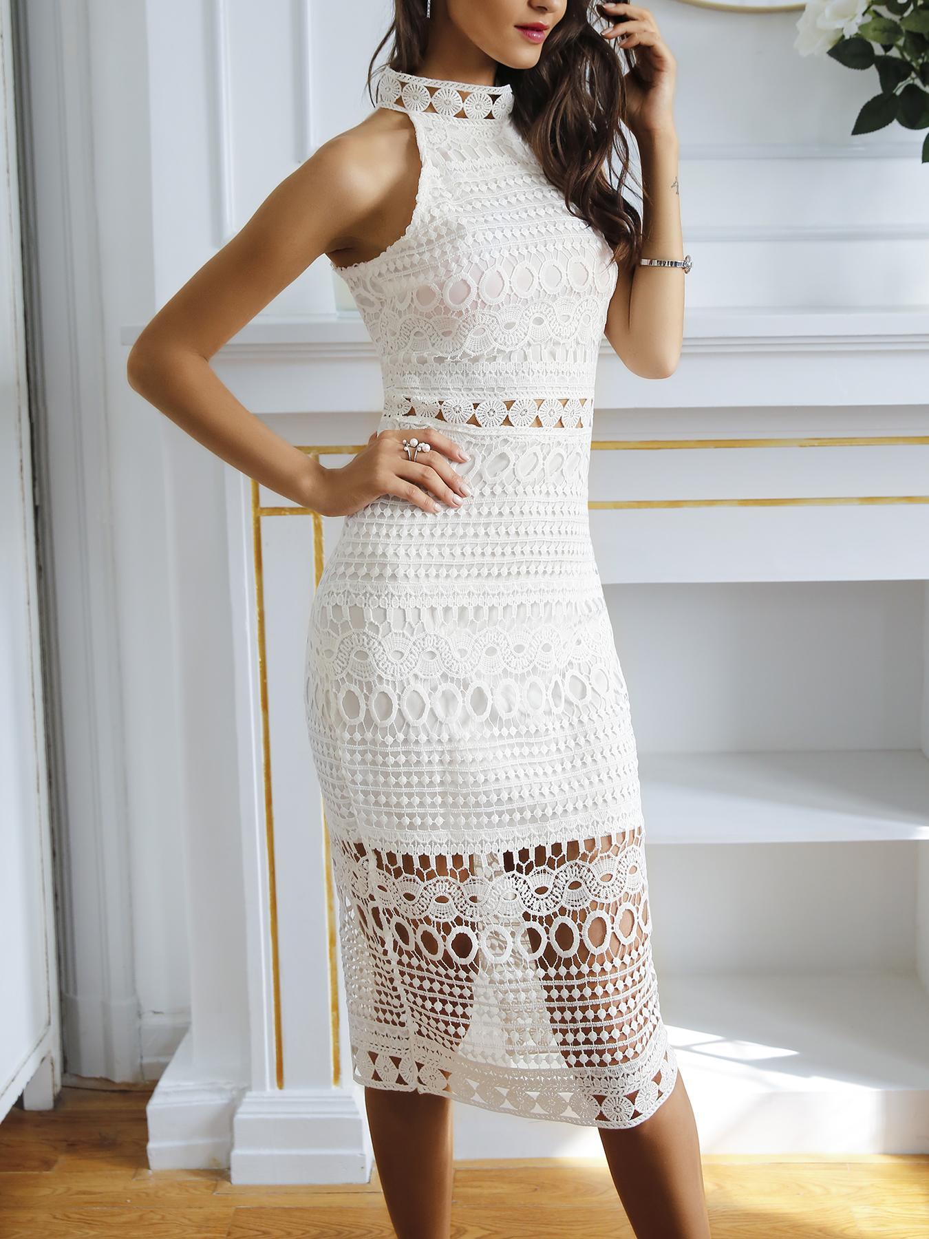 Halter Hollow Out Crochet Back Slit Midi Dress