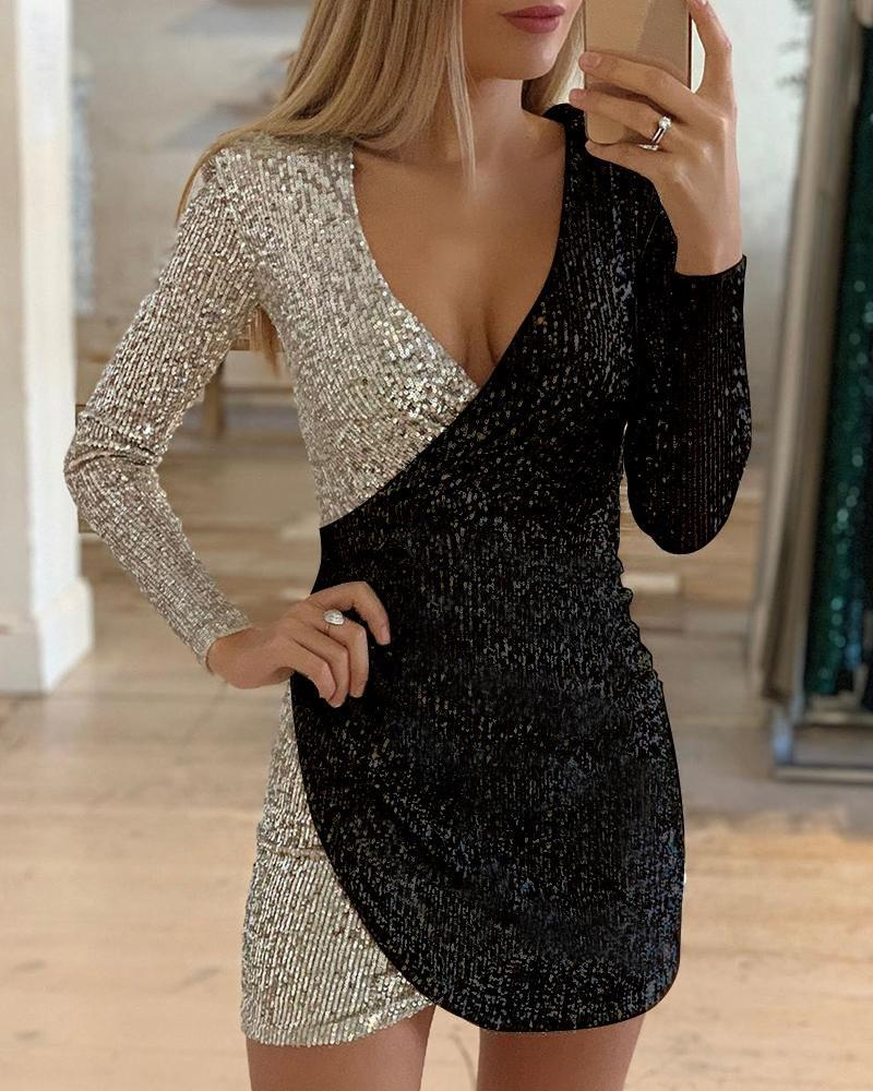 chicme / Colorblock Long Sleeve V-Neck Sequins Dress