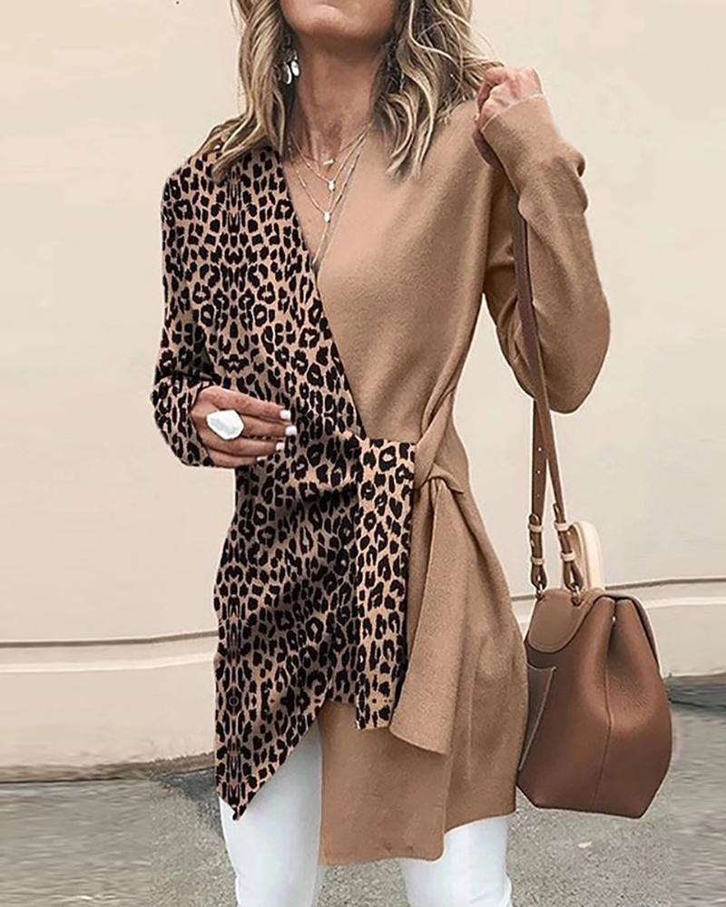 Contrast V Neck Leopard Tunic фото