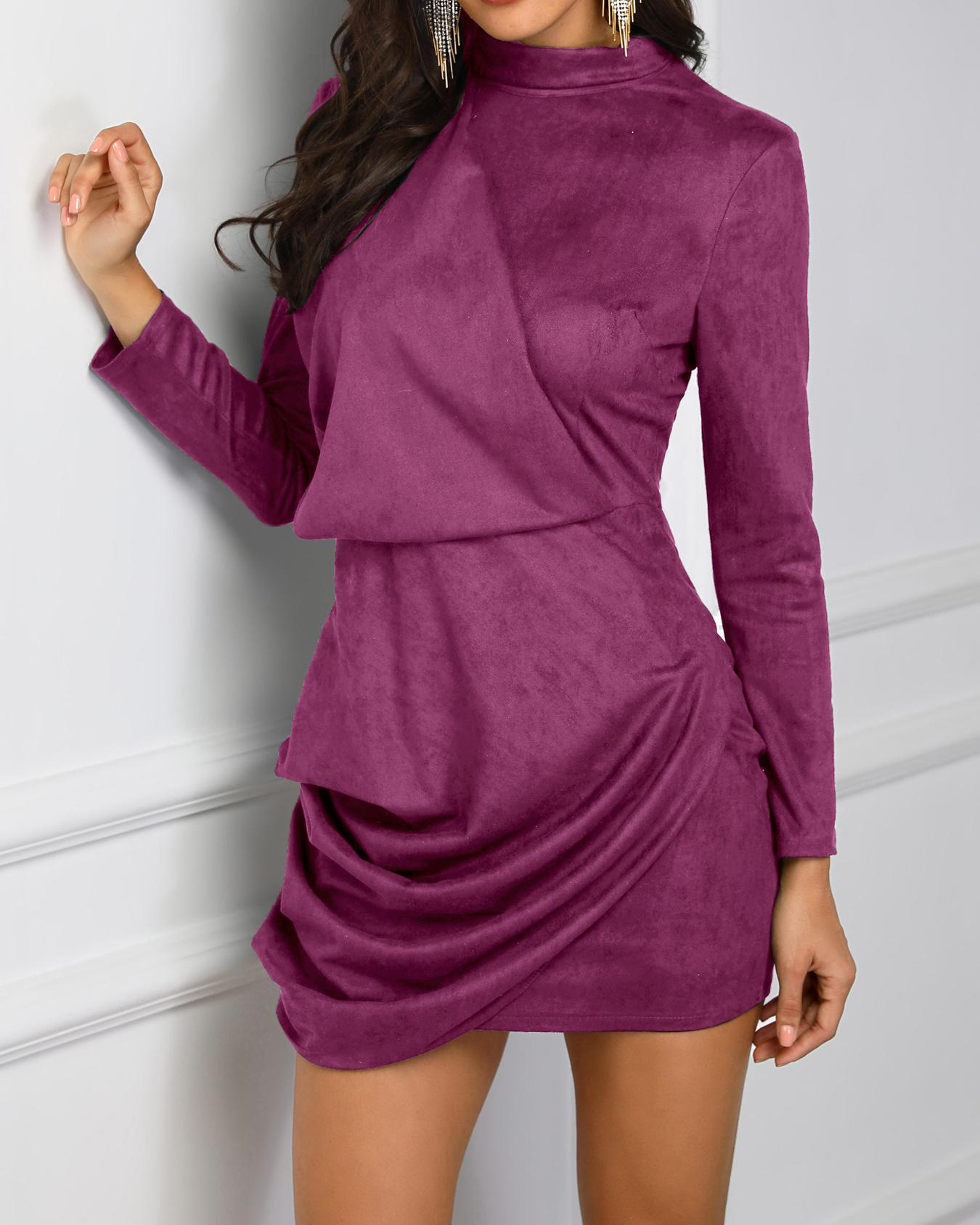 Long Sleeve Ruched Design Bodycon Dress, Purple