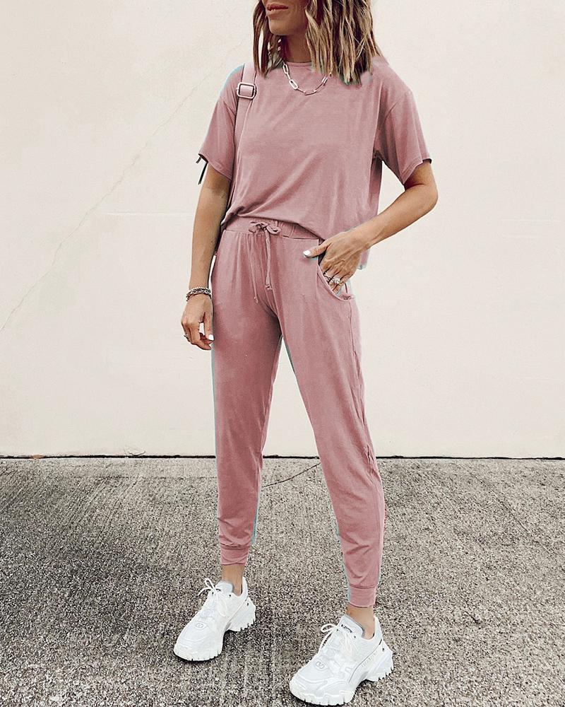 Solid Short Sleeve Top & Drawstring Pants Set фото