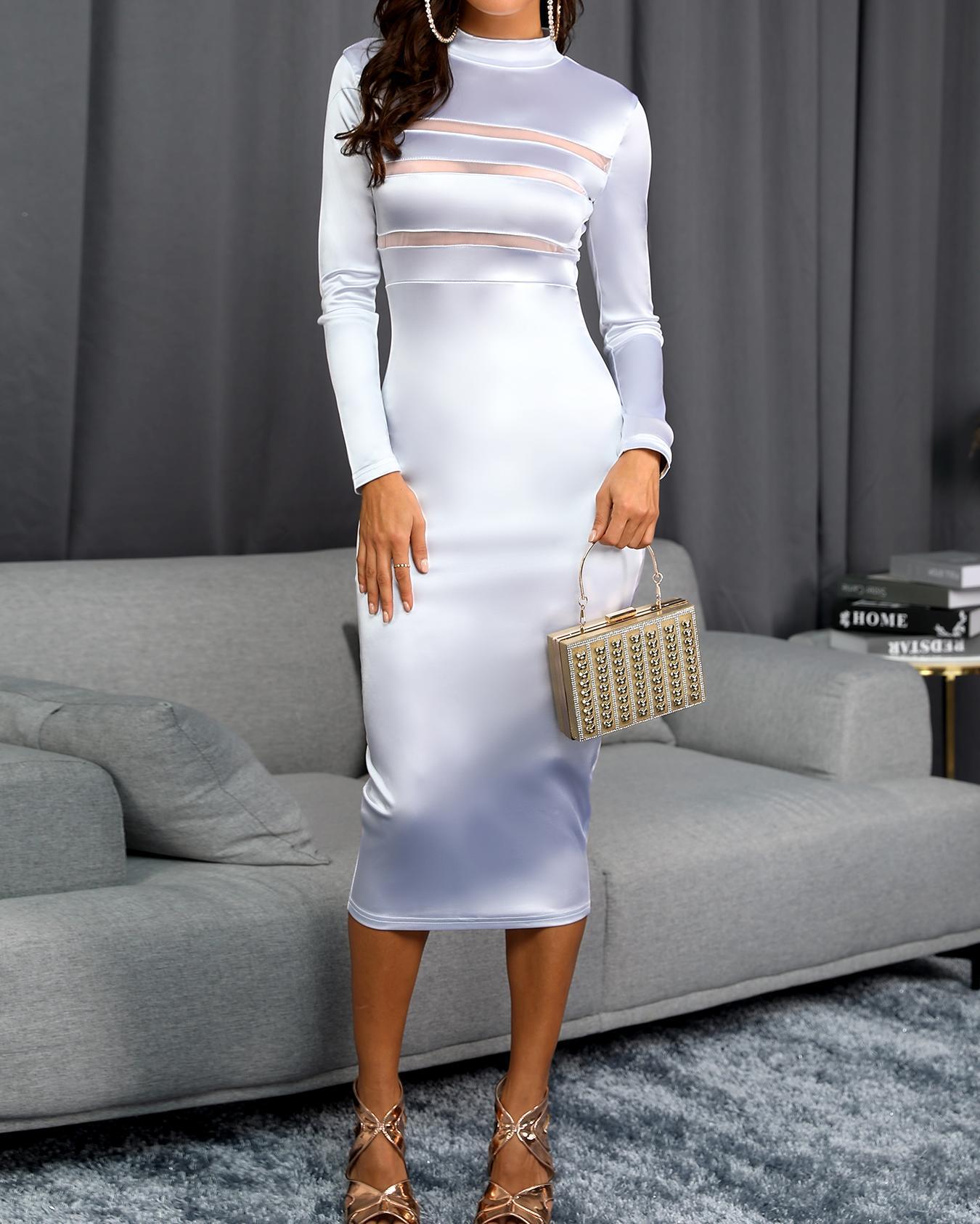 boutiquefeel / Vestido a media pierna con aplicación de malla transparente