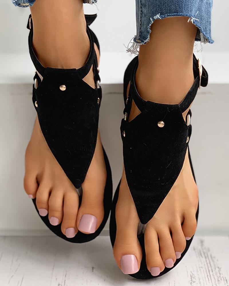 Toe Post Rivet Buttoned Slingback Sandals фото