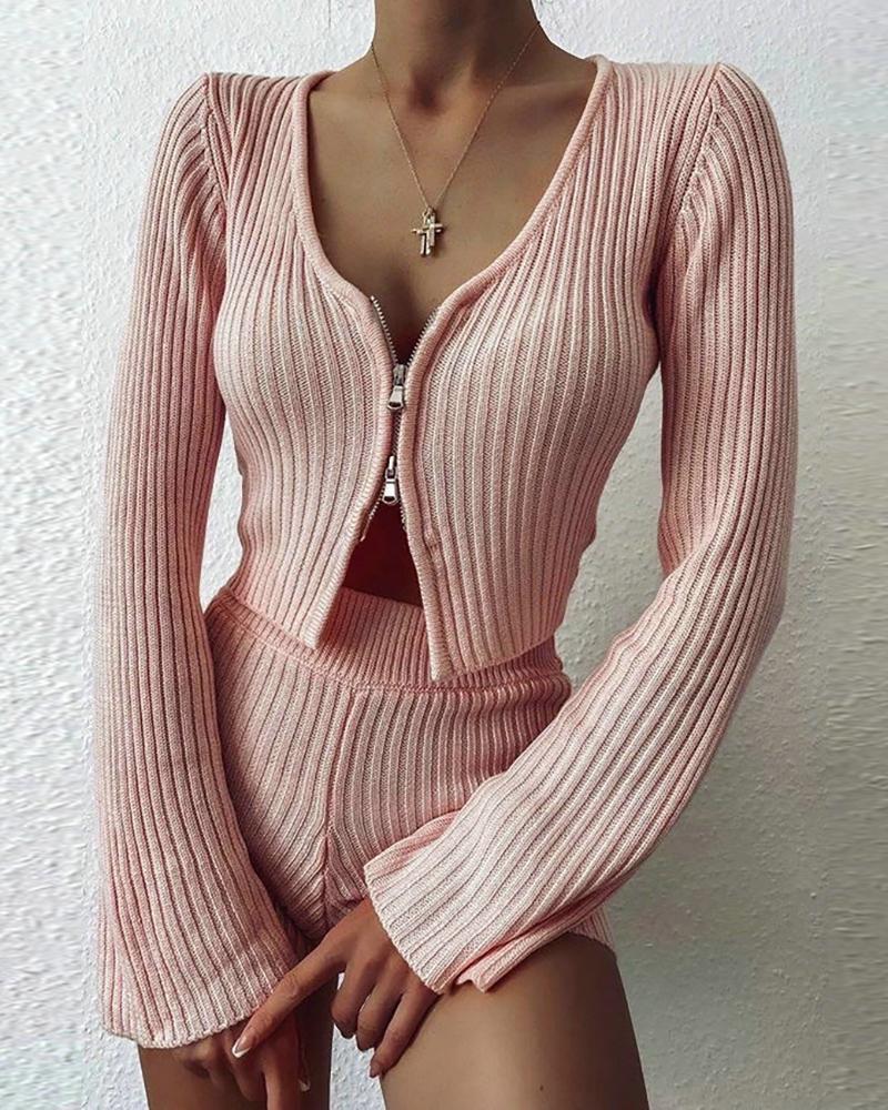 Ribbed Solid Zipper Design Top & High Waist Shorts Set фото