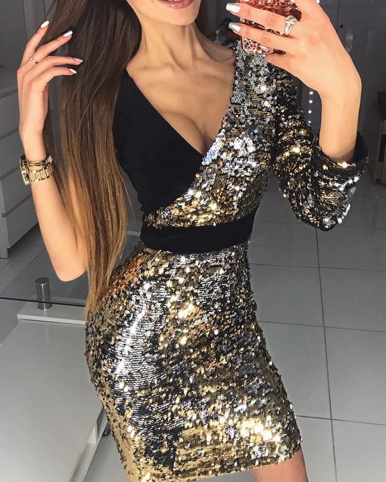 chicme / Deep V Splicing One Shoulder Bodycon Sequin Dress