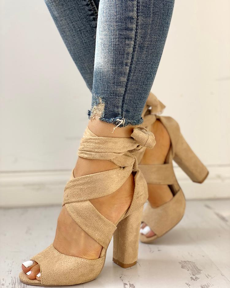 ivrose / Peep Toe Crisscross Vendaje Sandalias de tacones altos