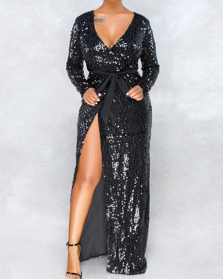 Long Sleeve Thigh Slit Sequin Evening  Dress