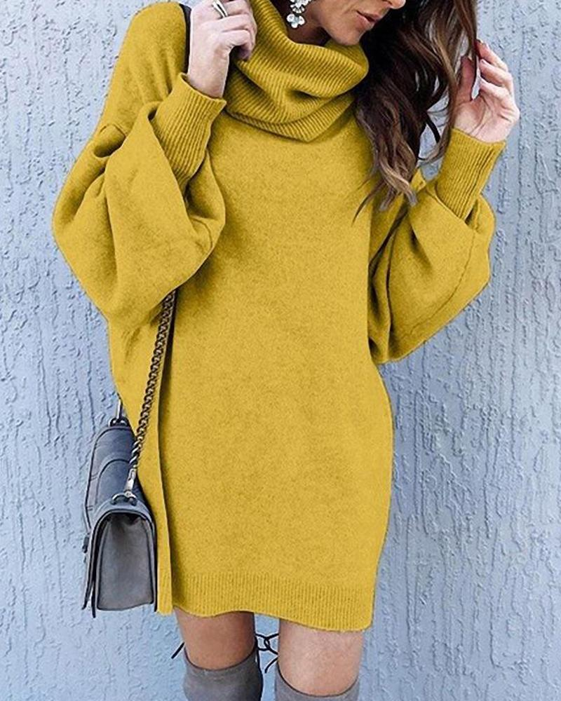 Solid High Neck Sweater Dress фото