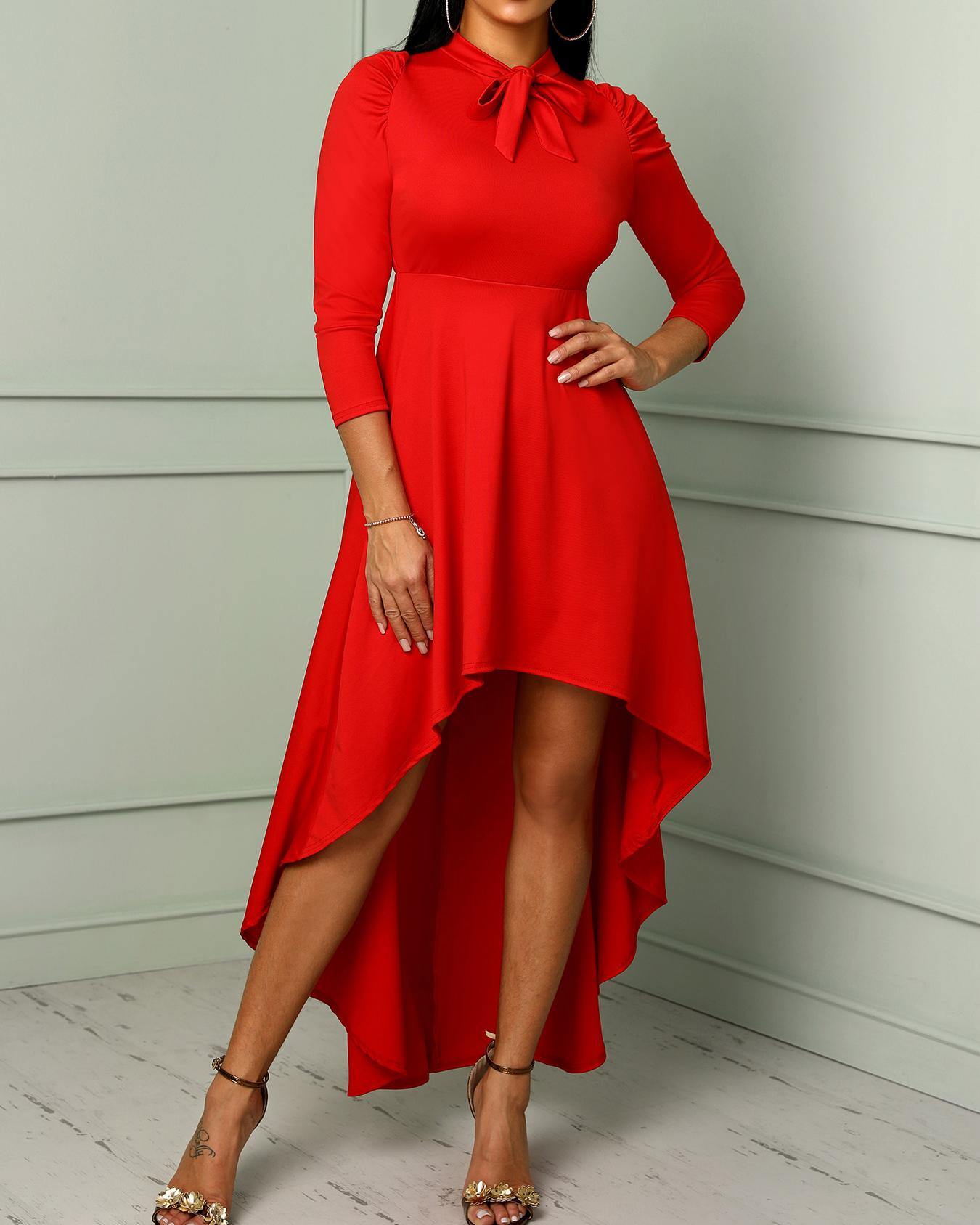 Solid Tied Neck Ruched Dip Hem Dress