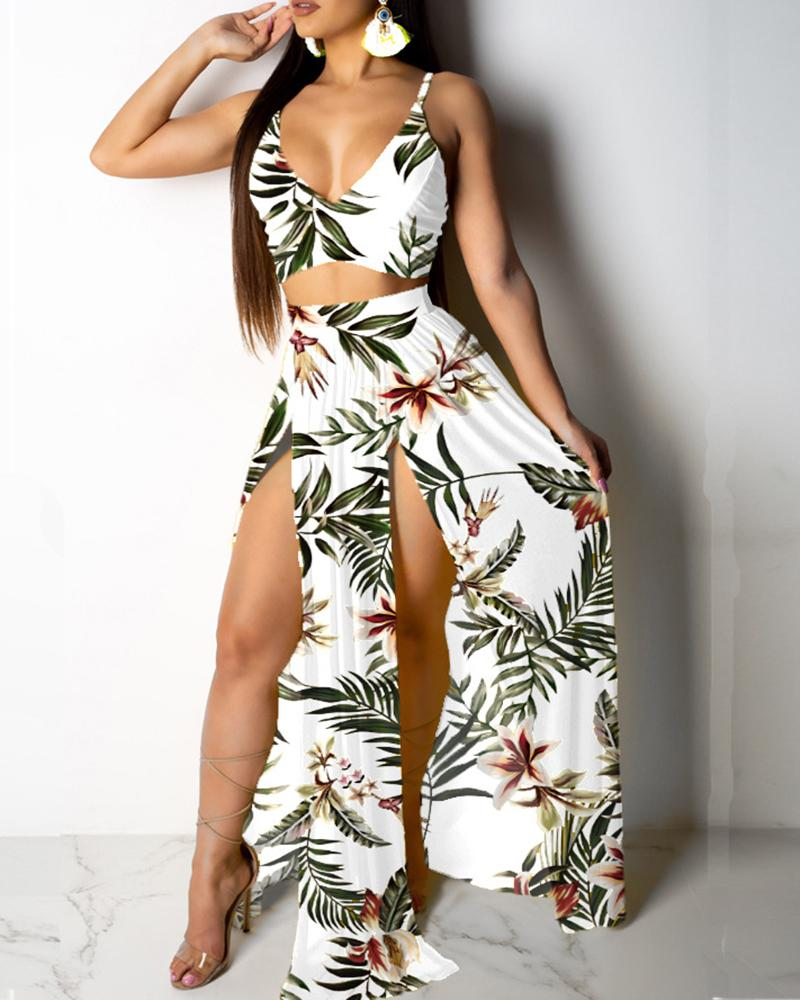 Tropical Print Cami Top & Thigh Slit Skirt Sets фото