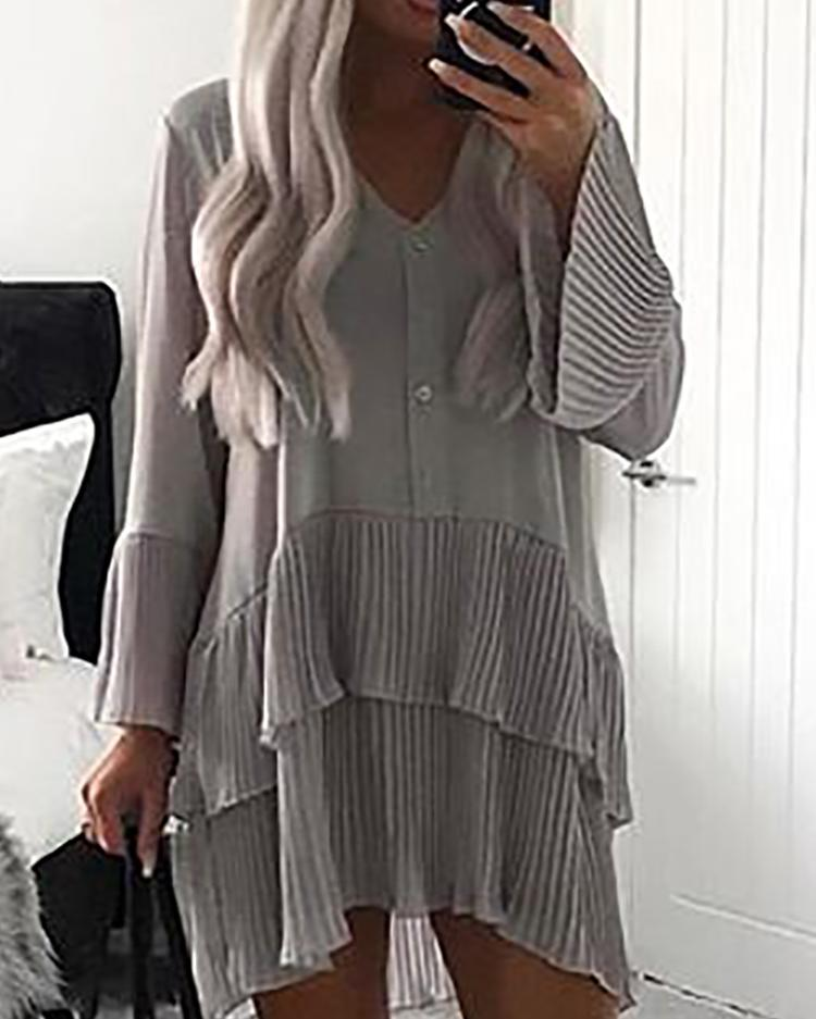 Bell Sleeve Layered Ruffles Pleated Shirt Dress