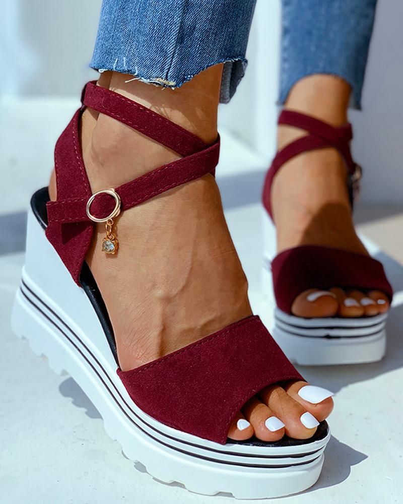 chicme / Peep Toe Sandálias de salto de cunha sólida