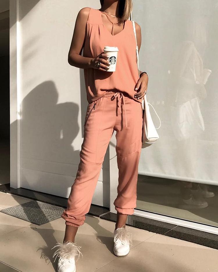 boutiquefeel / Camiseta sin mangas con cuello en V y pantalones con cordón