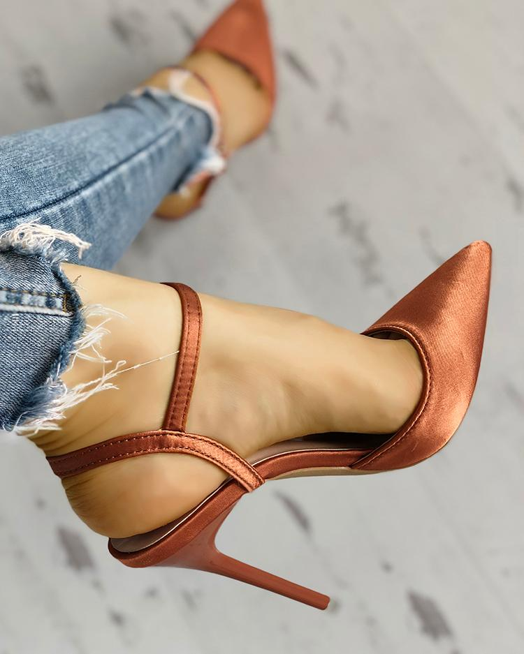 Satin Ankle Buckle Pointed Toe Thin Heeled Sandals, Orange
