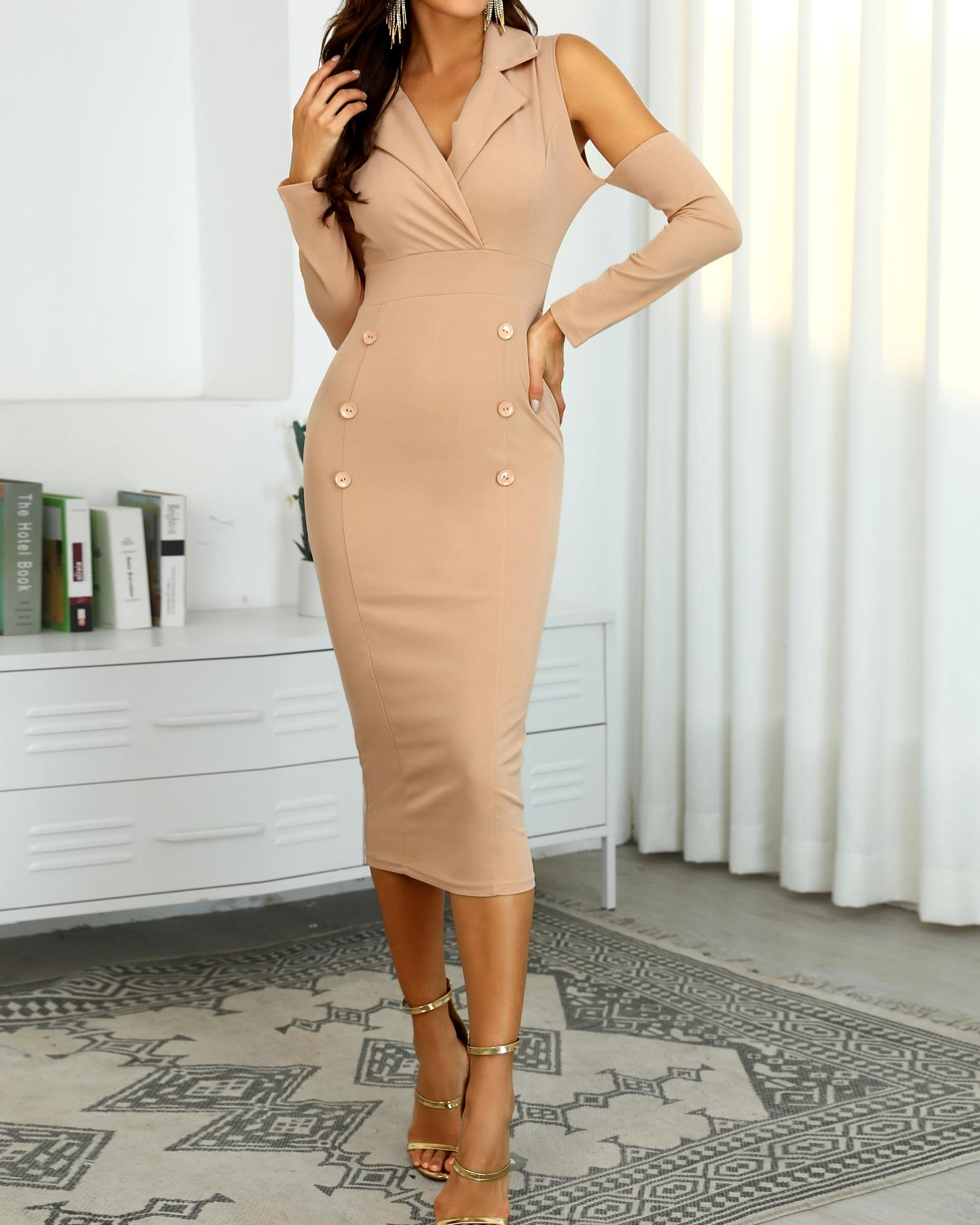 Double Breasted Cut Out Sleeve Midi Dress
