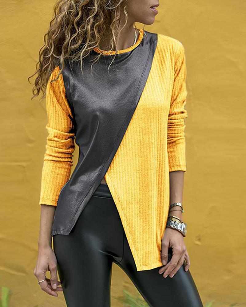 ivrose / O pescoço manga comprida PU costura blusa de fenda