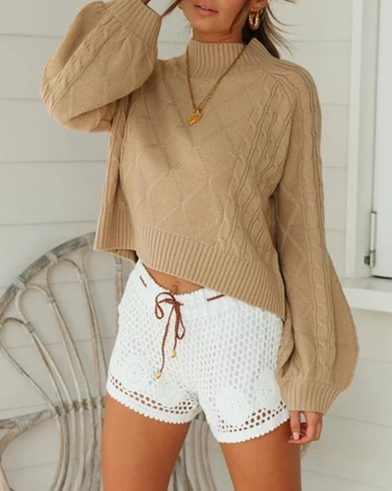 Casual Solid Cozy Lantern Sleeve Sweater фото