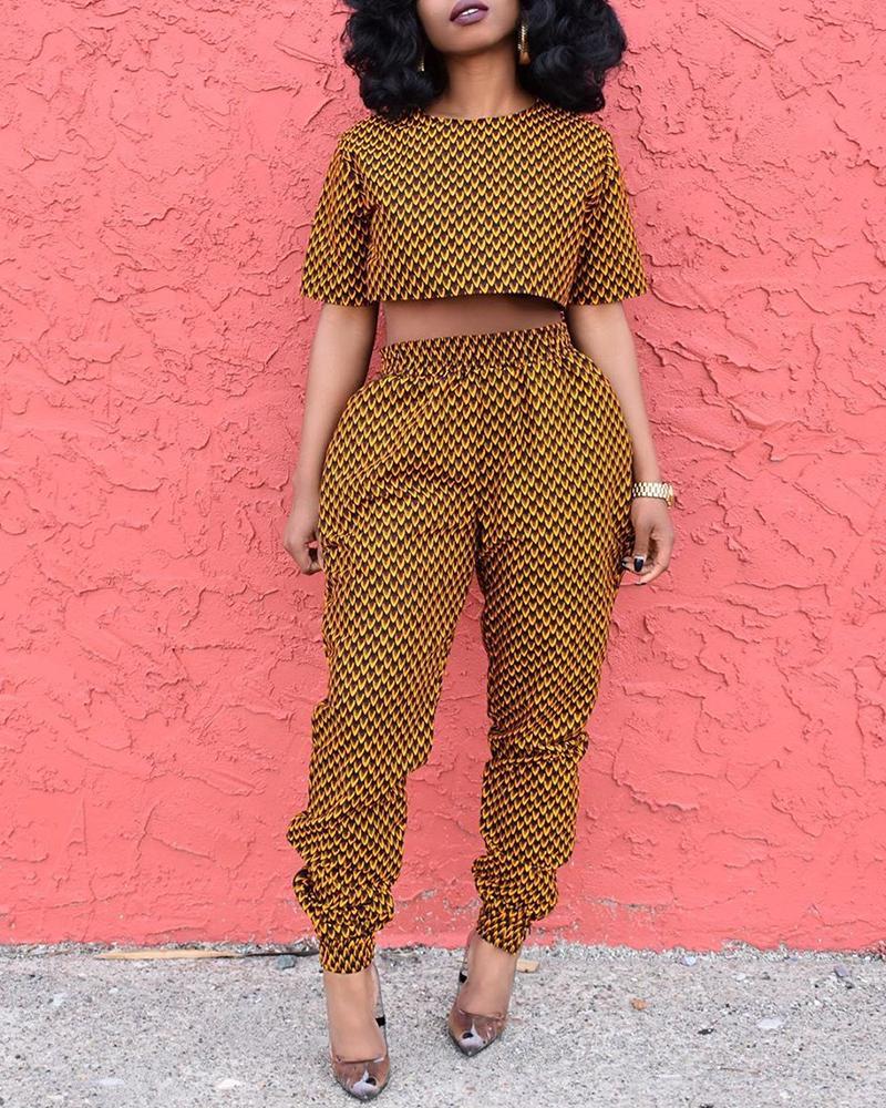 Print Short Sleeve Crop Top & Pant Sets, Yellow