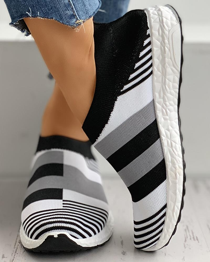 Colorblock Breathable Knitted Casual Sneakers фото