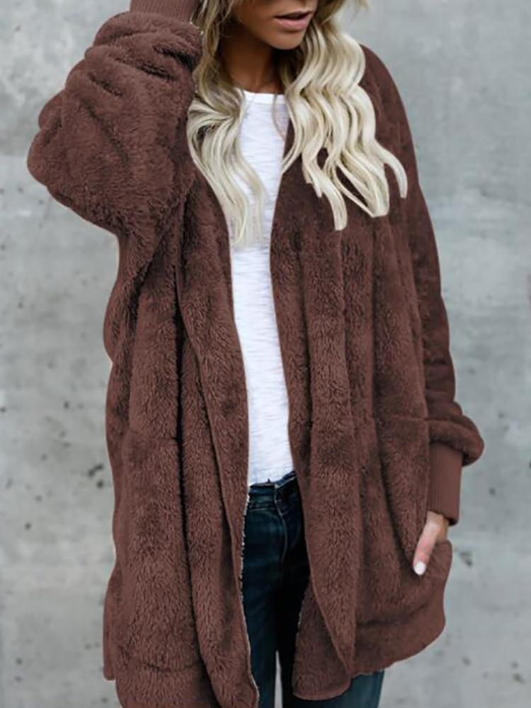 Warm Solid Pocket Design Hoodies Fluffy Coat - Coffee фото