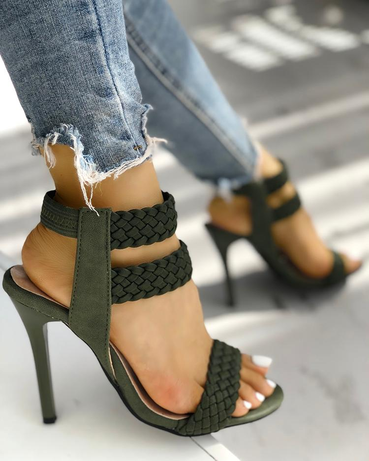 joyshoetique / Hot Summer Knitted Ankle Strap Peep-toe Heeled Sandals