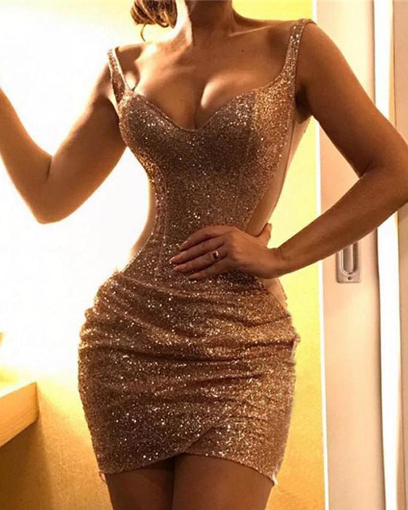 Glitter Spaghetti Strap Sequins Bodycon Dress фото