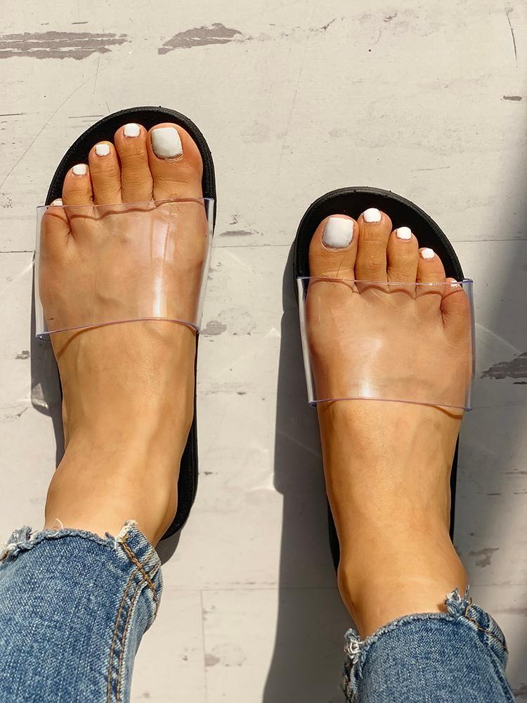 Transparent Single Strap Open Toe Flat Sandals