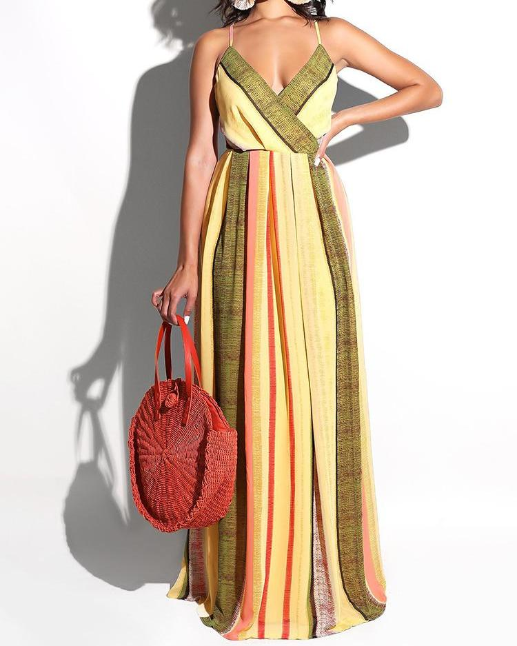 Crisscross Open Back Multicolor Stripes Maxi Dress, Yellow