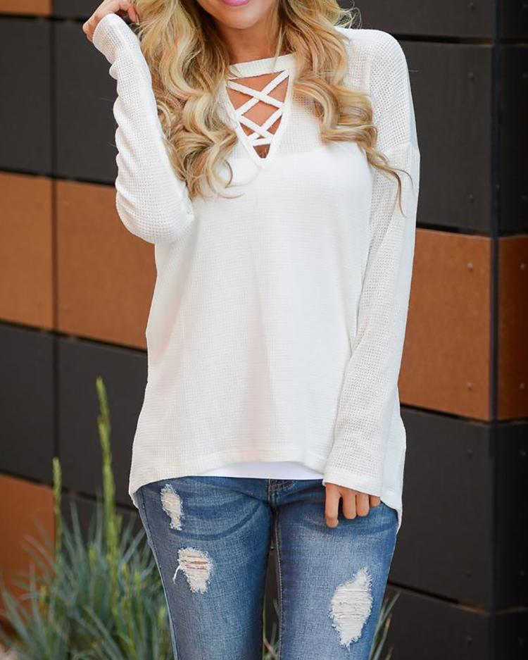 Fashion Solid Crisscross Front Casual Blouse