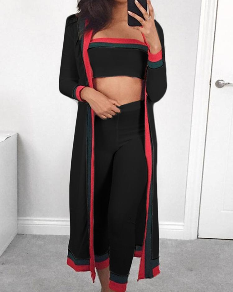 3PCS Striped Tape Crop Top & Pants With Coat Sets