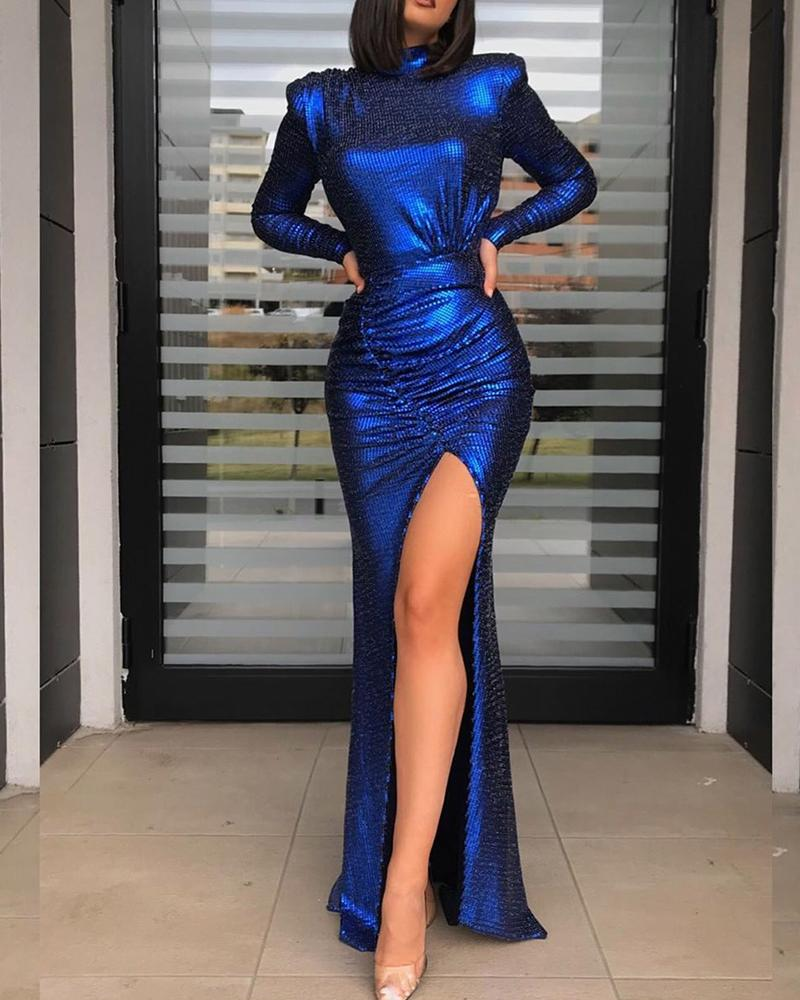 Sequined Backless Slit Front Maxi Dress фото