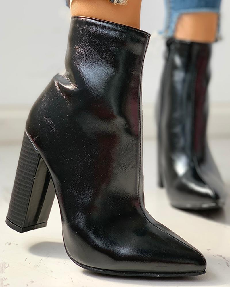 joyshoetique / Leather Snakeskin Chunky Heeled Ankle-Boots