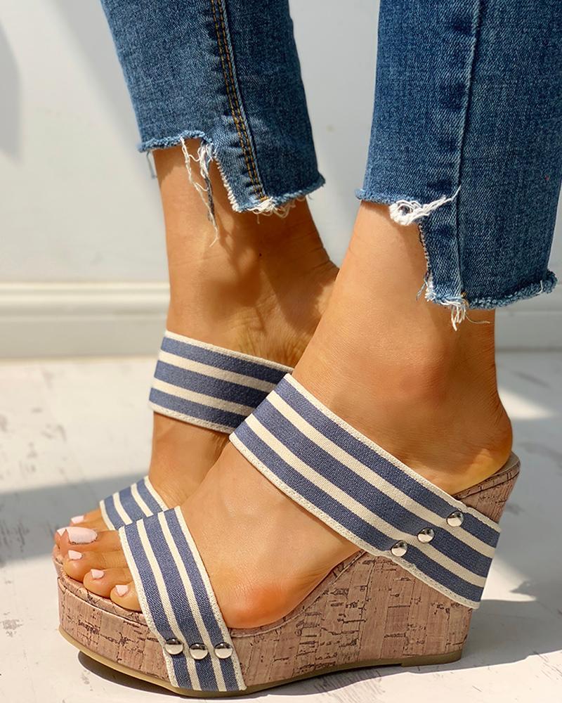 Rivet Detail Platform Wedge Sandals, Blue