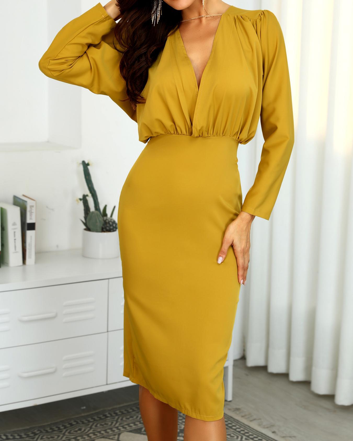 Ruched Design Long Sleeve Midi Dress фото