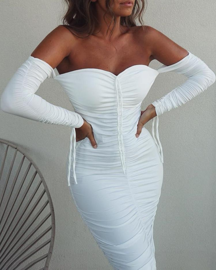 Off Shoulder Ruched Detail Bodycon Dress фото