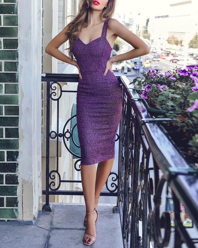 boutiquefeel / Vestido ajustado de fiesta con correa gruesa brillante