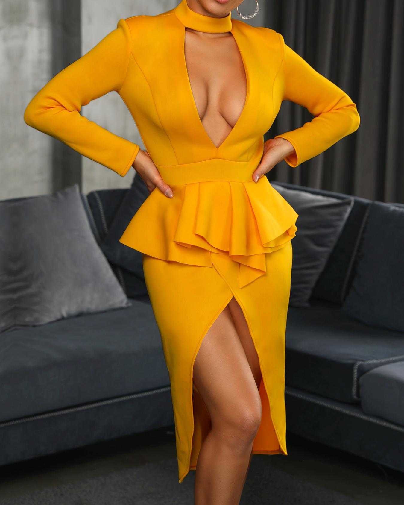 boutiquefeel / Choker V Flounced Tulip Hem Belted Dress