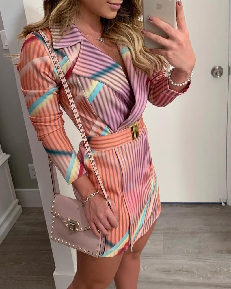 Colorful Striped Print Blazer Dress фото