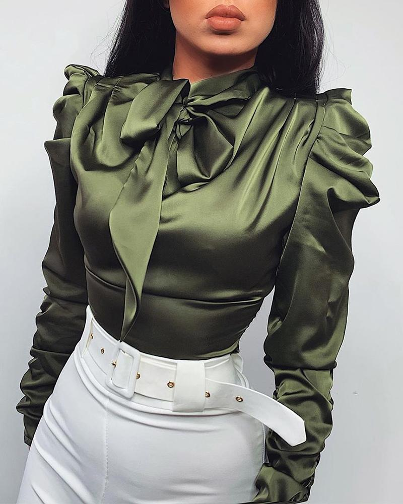 Solid Tie Neck Satin Blouse фото