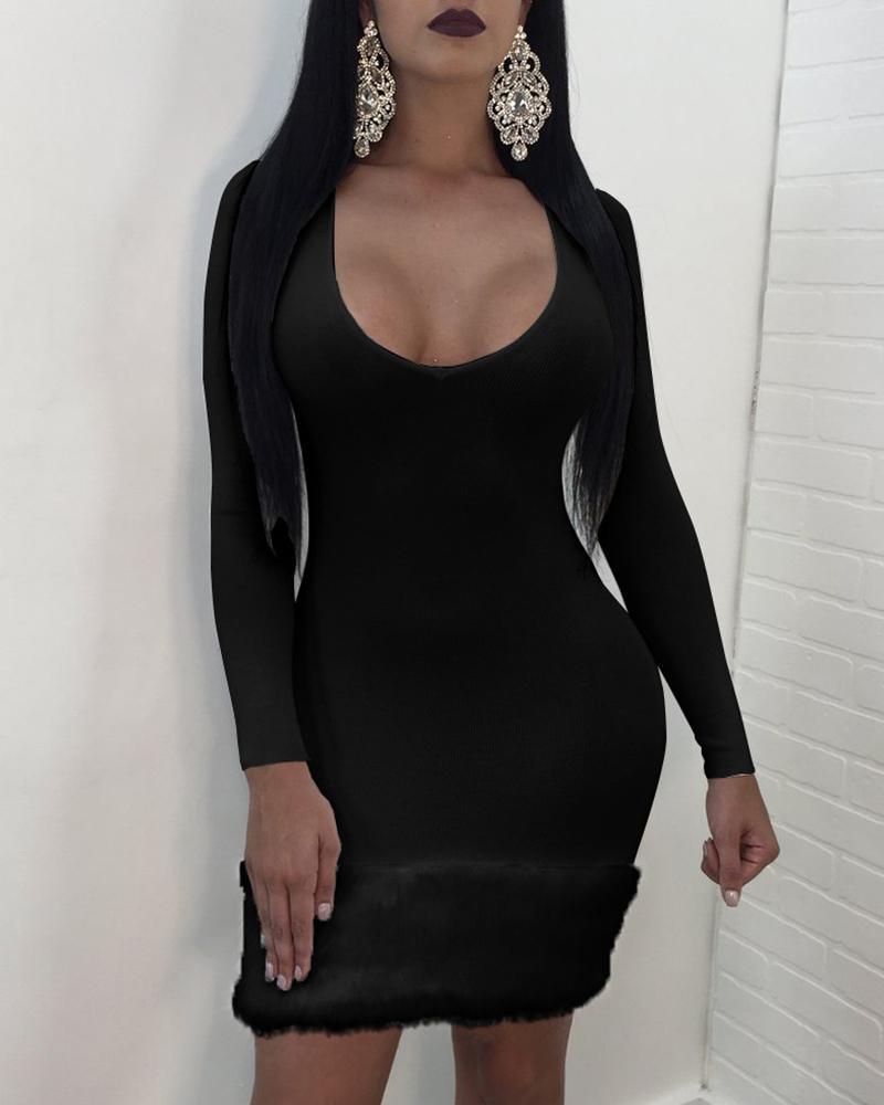chicme / Vestido ajustado con cuello redondo y manga larga con cuello redondo